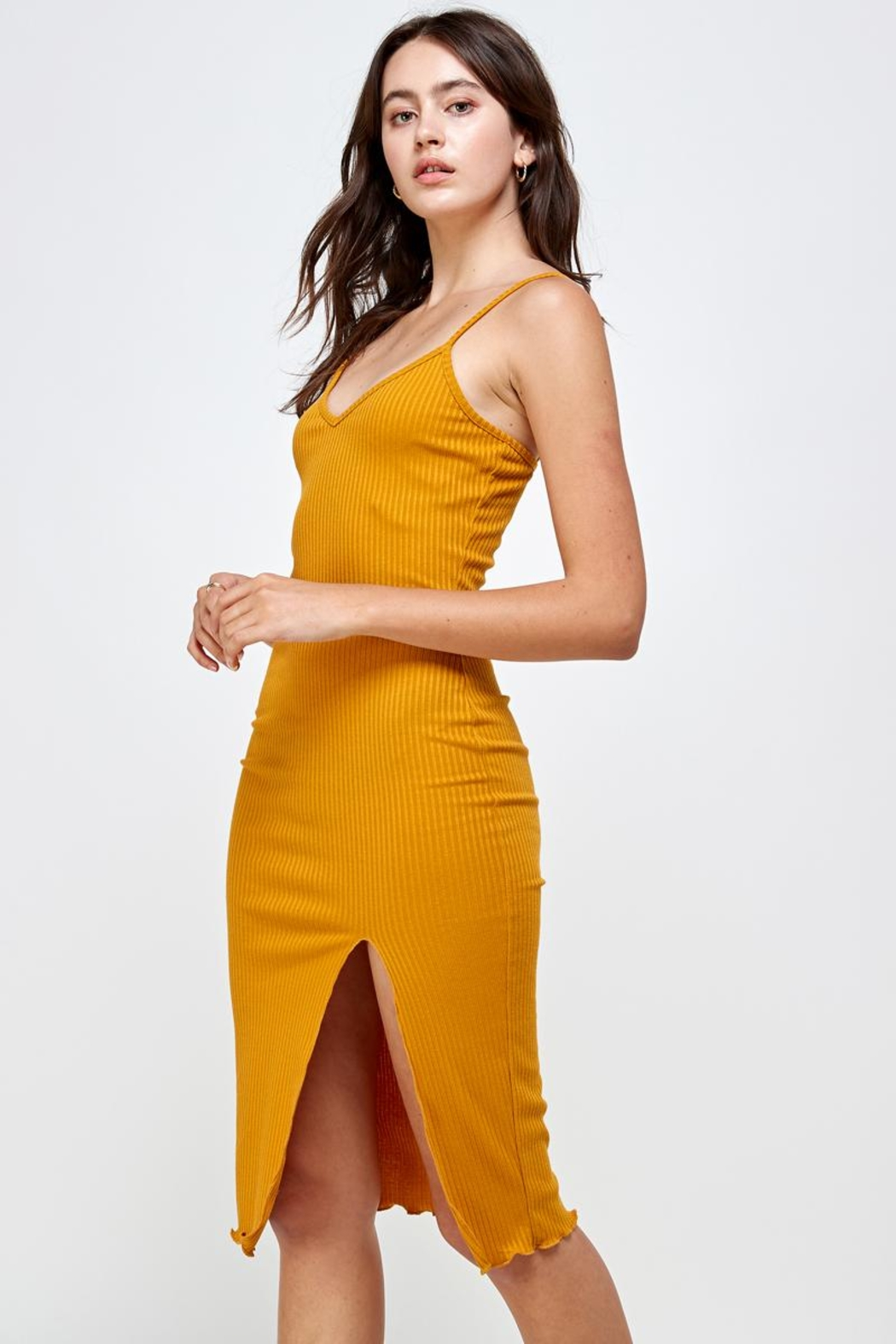 Miley and Molly Rib Knit Slit Front Cami Midi Dress - Front Full Image