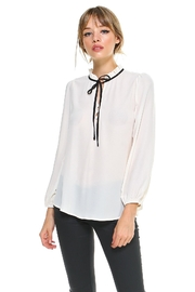 Miley and Molly Ruffle Collard Tie Neck Solid Blouse Top - Product Mini Image
