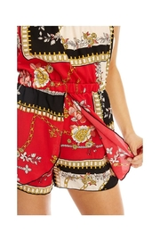 Miley and Molly Scarf Printed Tube Off Shoulder Romper - Front full body