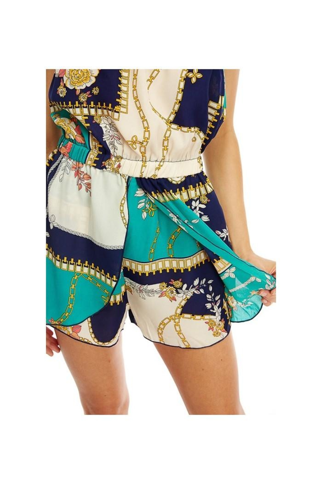 Miley and Molly Scarf Printed Tube Off Shoulder Romper - Front Full Image