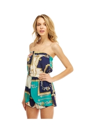 Miley and Molly Scarf Printed Tube Off Shoulder Romper - Front cropped