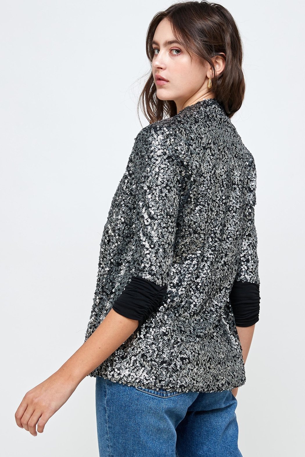 Kaii Sequins Cover Up Party Blazer Top - Back Cropped Image