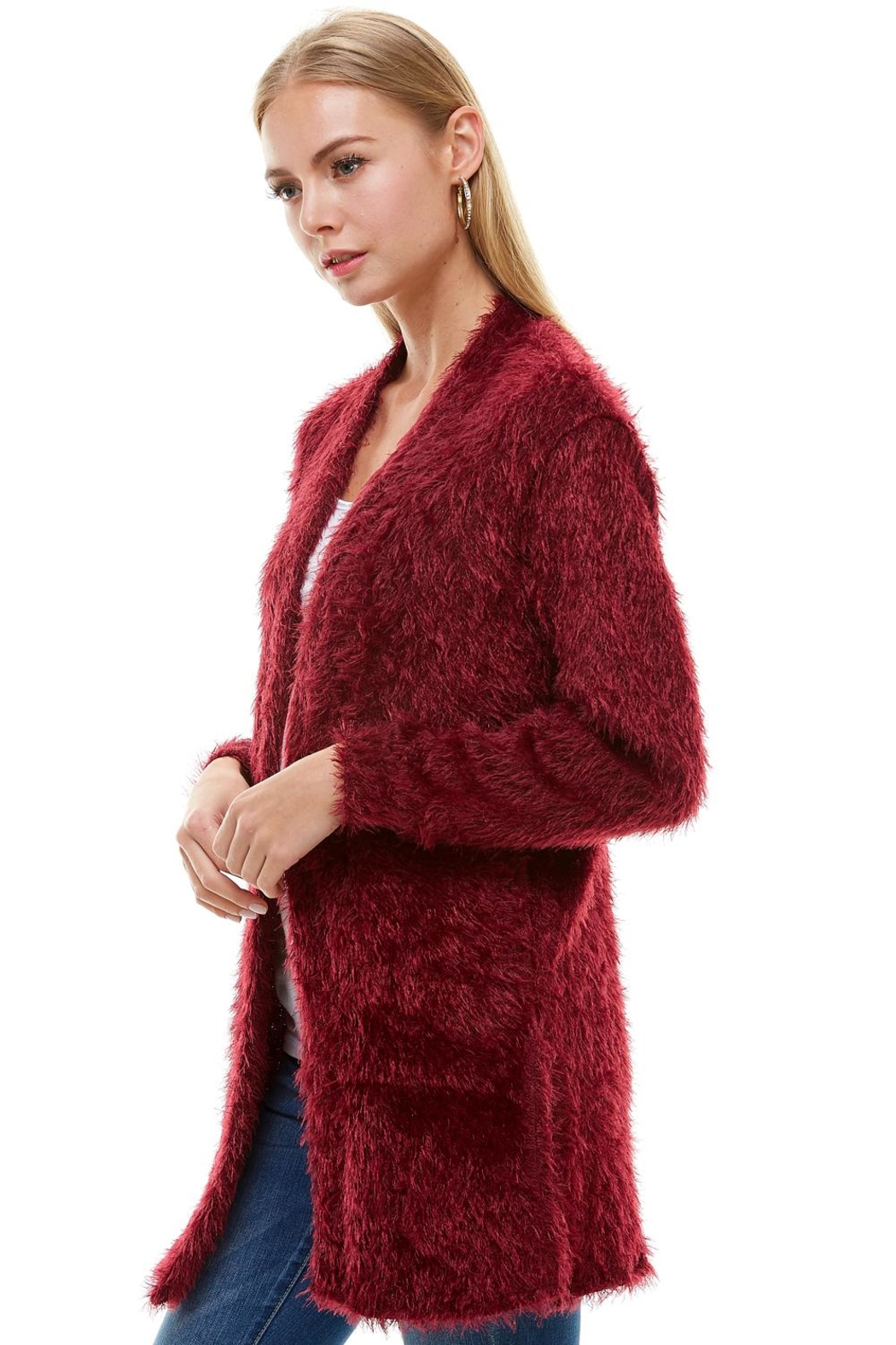 Miley and Molly Shaggy Loose Fit Long Sweater Cardigan - Front Full Image