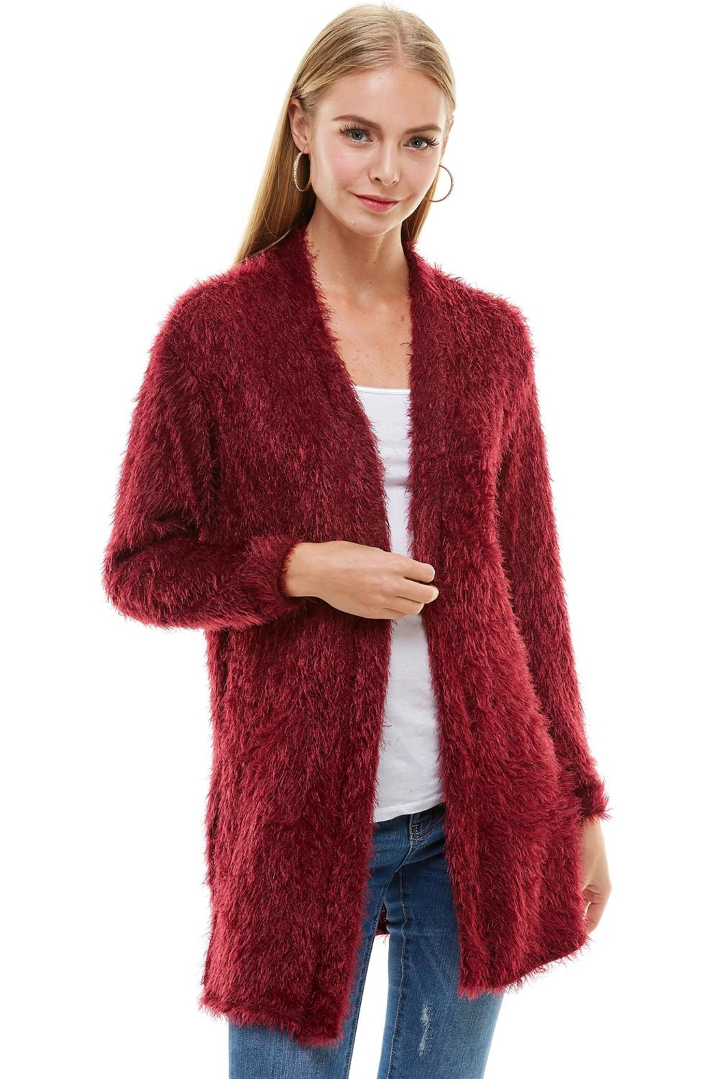 Miley and Molly Shaggy Loose Fit Long Sweater Cardigan - Main Image