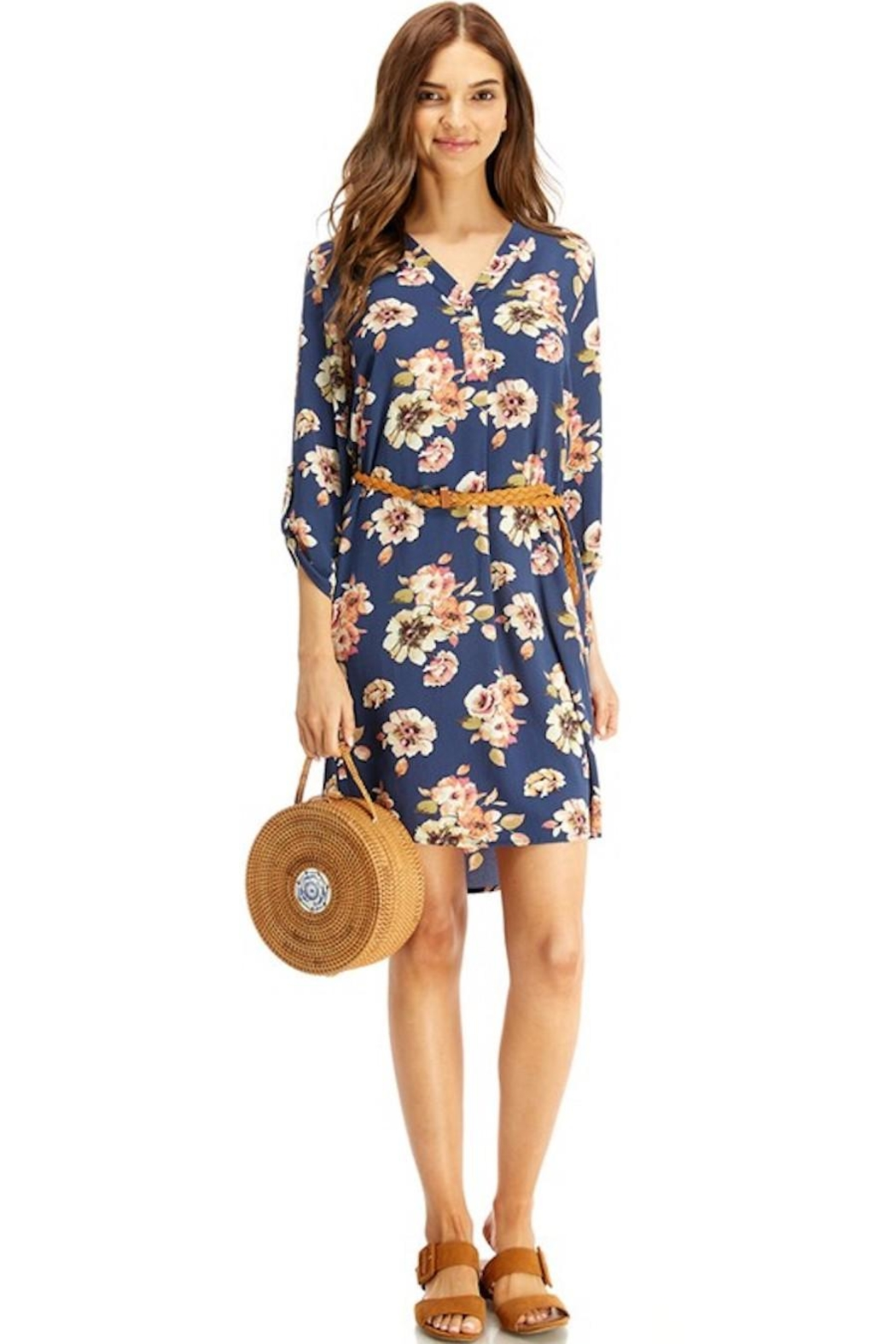 Miley and Molly Slate Blue Floral Belted Dress - Front Full Image