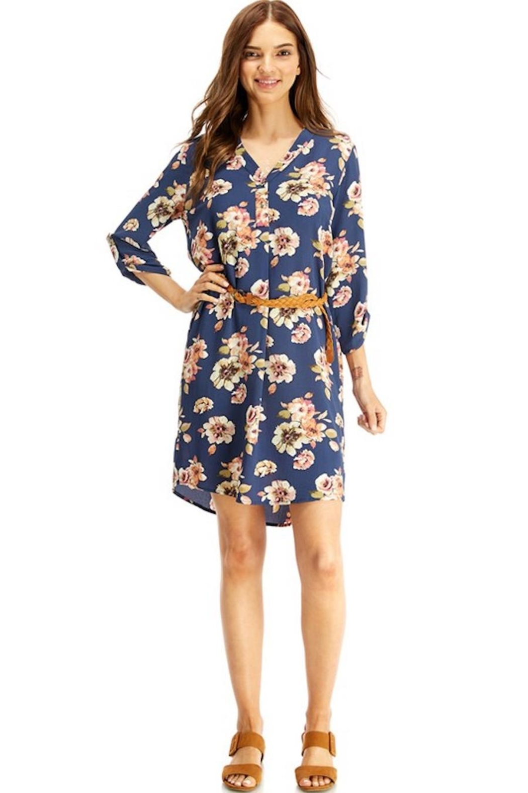 Miley and Molly Slate Blue Floral Belted Dress - Side Cropped Image