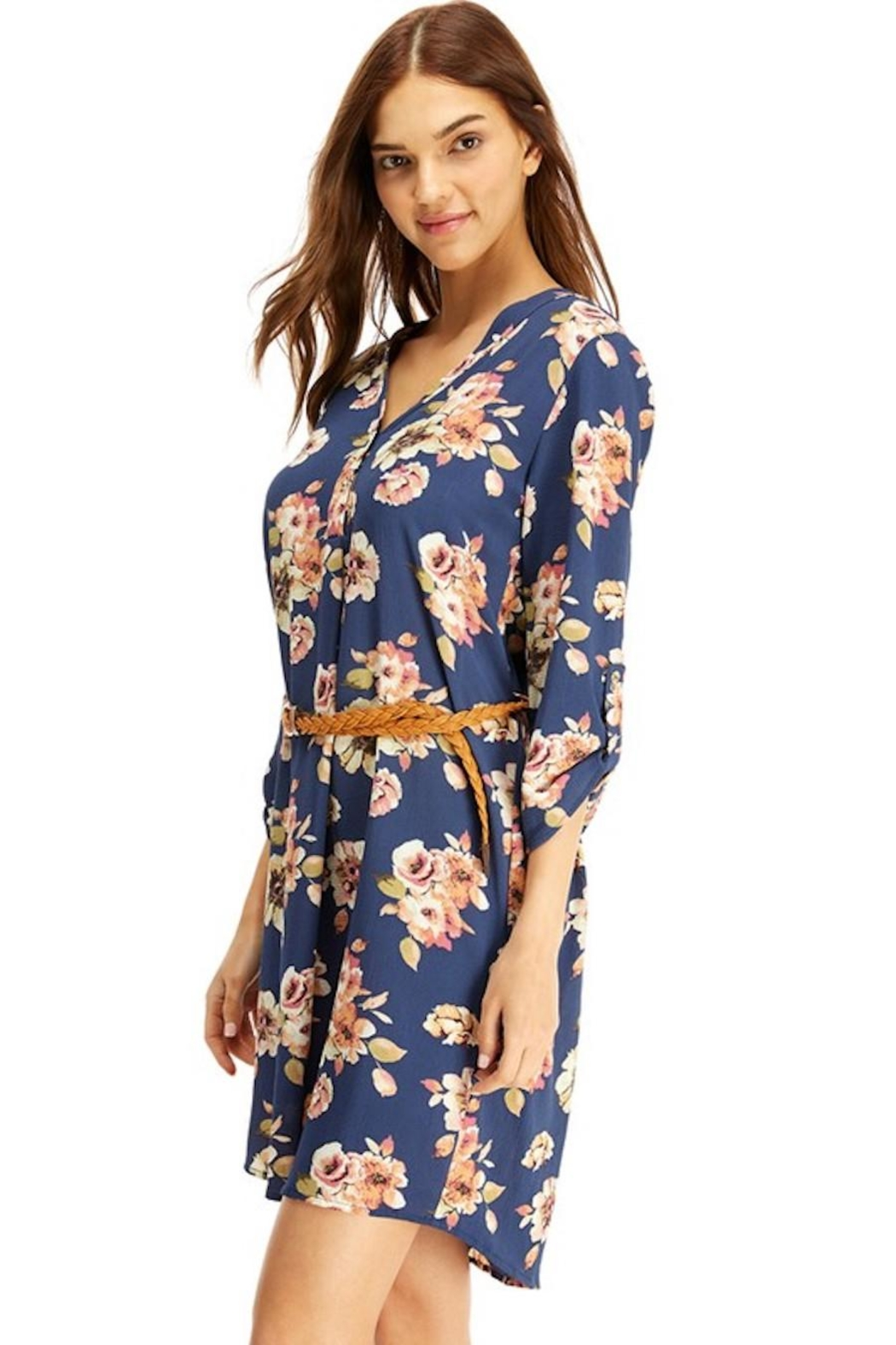 Miley and Molly Slate Blue Floral Belted Dress - Back Cropped Image