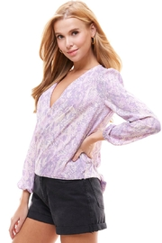 Miley and Molly Snake Floral Tie Back Surplice Long Sleeve Blouse - Product Mini Image