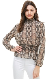 Miley and Molly Snake Print Smocked Neck, Waist Long Sleeve Blouse - Product Mini Image