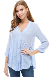 Miley and Molly Solid Button Down 3/4 Sleeves Babydoll Blouse - Product Mini Image