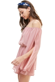 Miley and Molly Solid Cold Shoulder Long Sleeve Romper - Front full body
