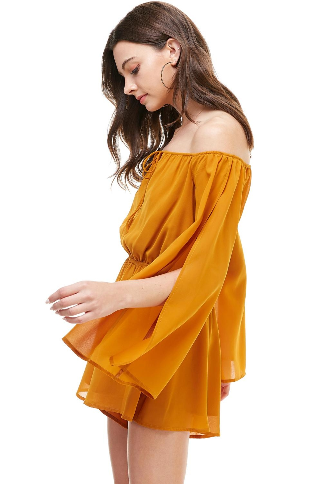 Miley and Molly Solid Cold Shoulder Long Sleeve Romper - Front Full Image