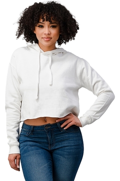 Miley and Molly Solid Crop Sweat Shirt Hoodie Top Raw Edge Finish - Alternate List Image