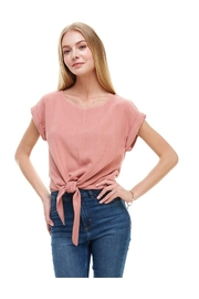 Miley and Molly Solid Cuffed Sleeves Tie Front Top - Product Mini Image