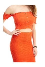 Miley and Molly Solid Off Shoulder Corp Top Skirt Matching Set - Front full body