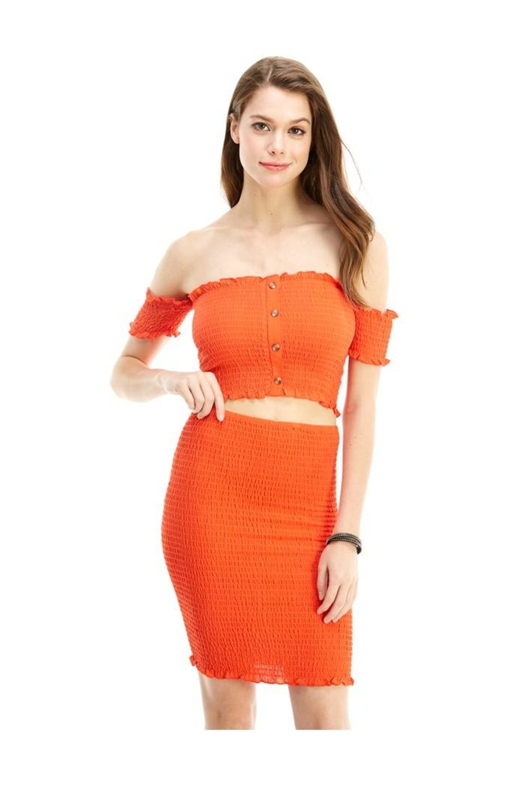 Miley and Molly Solid Off Shoulder Corp Top Skirt Matching Set - Main Image