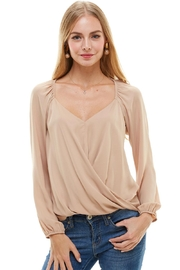 Miley and Molly Solid Surplice Long Sleeve Blouse - Product Mini Image