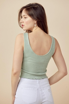 Miley and Molly Solid Tank Top With Scoop Neck All Over Shirred - Alternate List Image