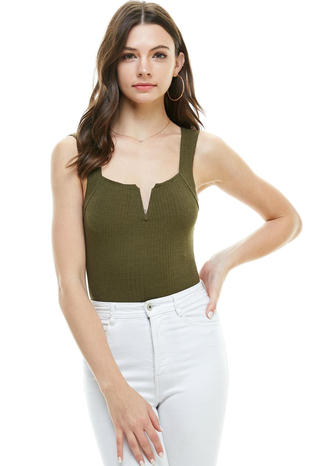 Miley and Molly Solid V Wire Neck Bodysuit - Side Cropped Image