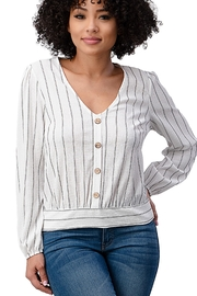 Miley and Molly Stretch Gauze Stripe Button Front Tie Back Long Sleeve Blouse Top - Product Mini Image