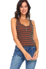 Miley and Molly Stripe Button Detail Lattice Edge Tank Top - Product Mini Image