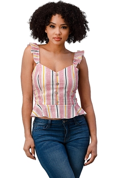 Miley and Molly Stripe Button Front Smocked Back Ruffle Strap Top - Product List Image