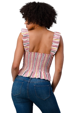 Miley and Molly Stripe Button Front Smocked Back Ruffle Strap Top - Alternate List Image