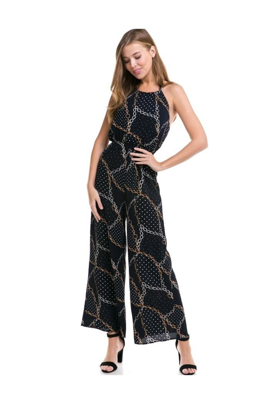 Miley and Molly Stripe Kimono Sleeve Jumpsuit - Front Full Image