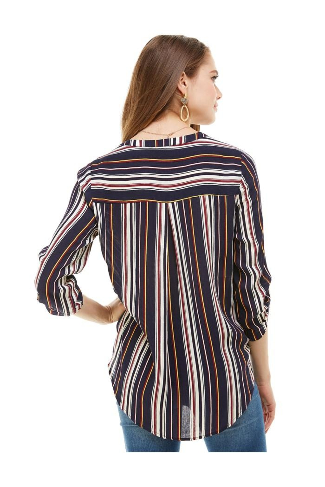 Miley and Molly Stripe Popover Surplice Hi Low Shirts - Side Cropped Image
