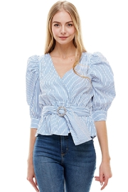 Miley and Molly Stripe Puff Sleeves Jewe; Belted Surplice Blouse - Product Mini Image
