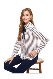 Miley and Molly Stripe Tie Neck Button Down Blouse - Product Mini Image