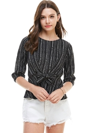Miley and Molly Stripe Tie Waist 3/4 Sleeves Blouse - Product Mini Image