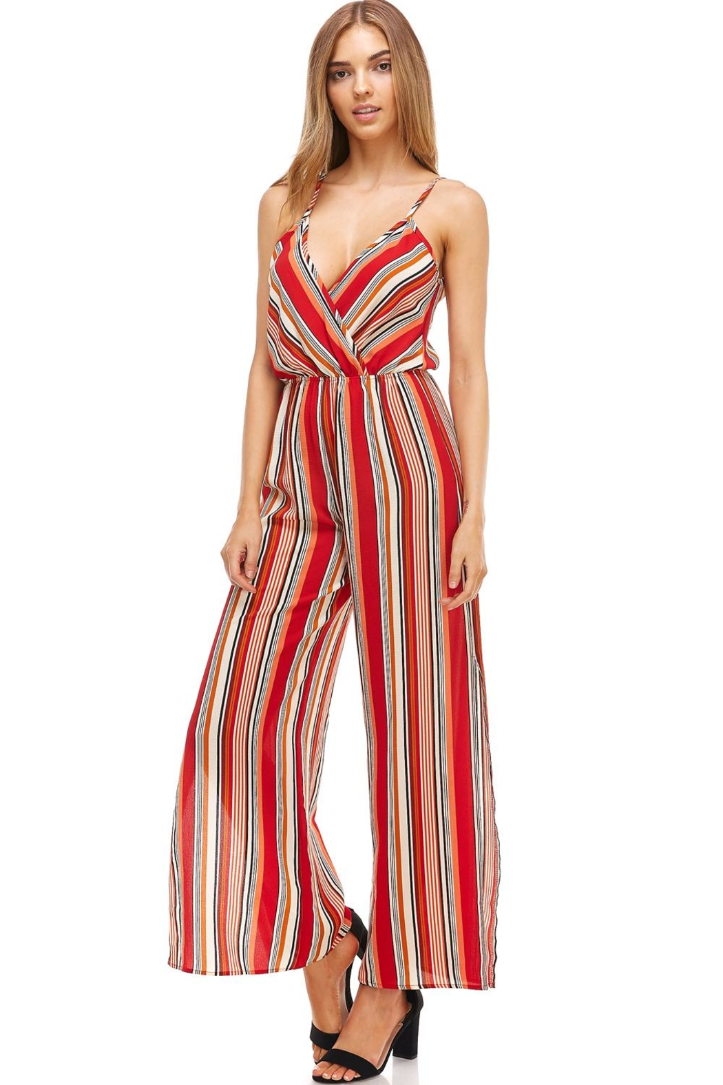 Miley and Molly Striped Surplice Jump Suit With Side Slits - Front Full Image
