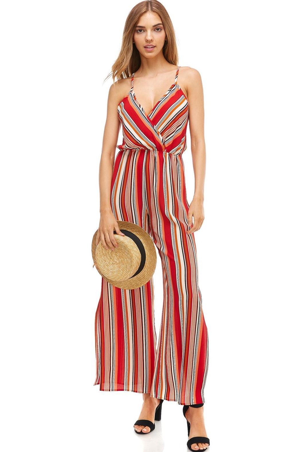 Miley and Molly Striped Surplice Jump Suit With Side Slits - Main Image