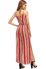 Miley and Molly Striped Surplice Jump Suit With Side Slits - Back cropped
