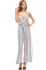 Miley and Molly Striped Surplice Jump Suit With Side Slits - Front full body