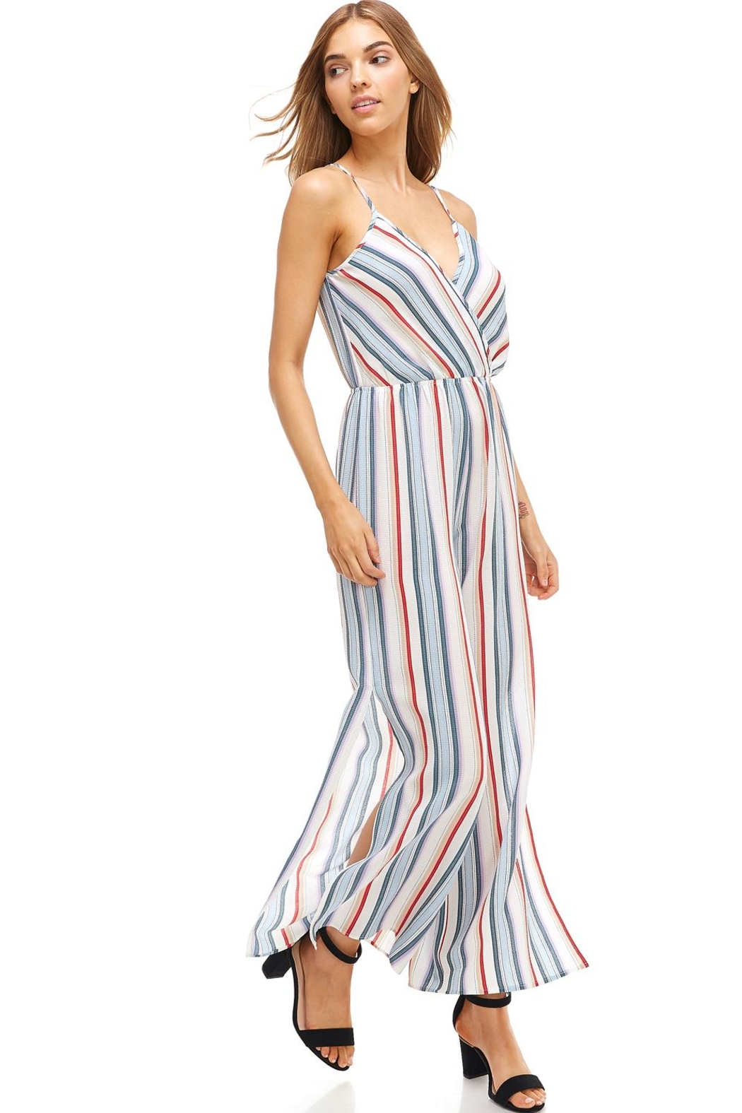Miley and Molly Striped Surplice Jump Suit With Side Slits - Front Cropped Image