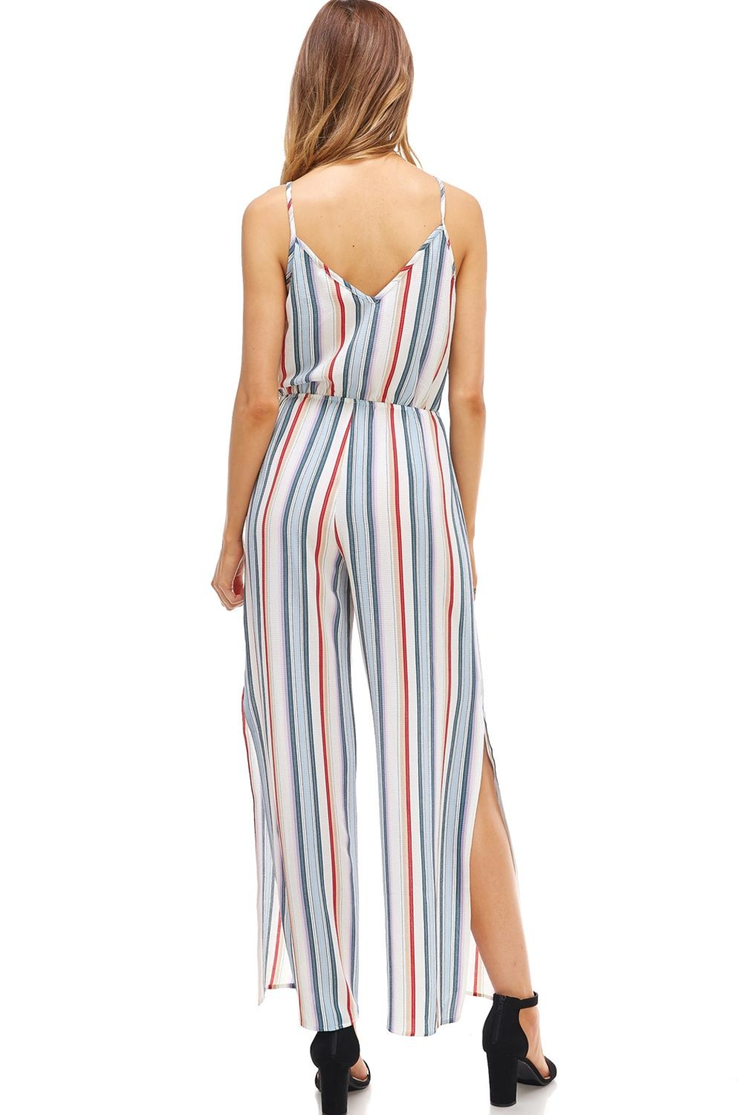 Miley and Molly Striped Surplice Jump Suit With Side Slits - Back Cropped Image