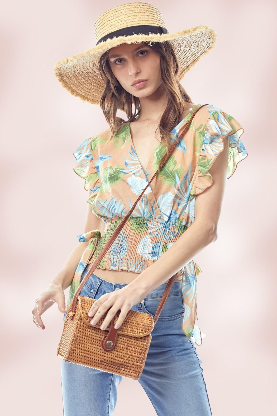 Miley and Molly Surplice Flutter Sleeve Blouse Top Tropical Print - Main Image