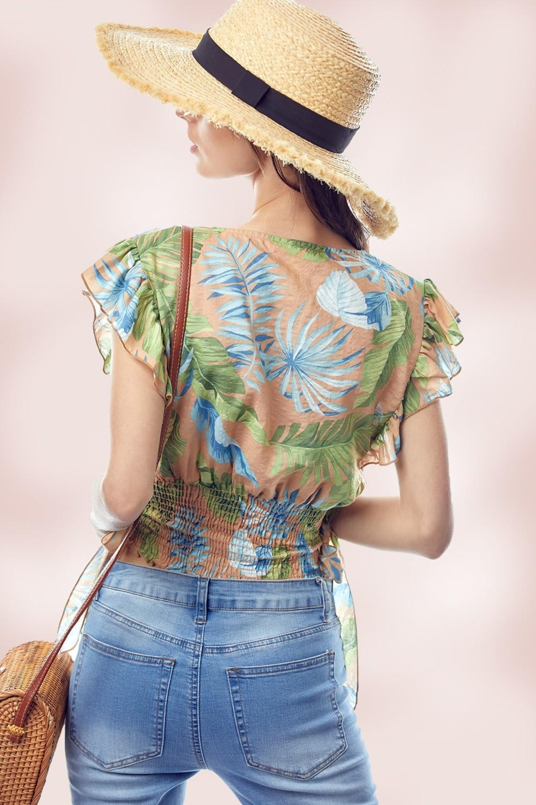 Miley and Molly Surplice Flutter Sleeve Blouse Top Tropical Print - Side Cropped Image