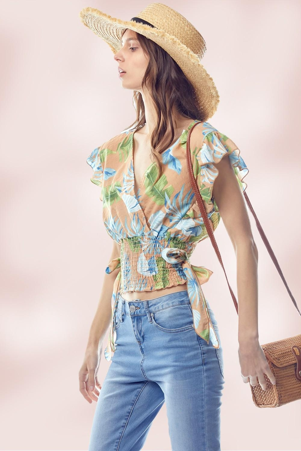 Miley and Molly Surplice Flutter Sleeve Blouse Top Tropical Print - Front Full Image