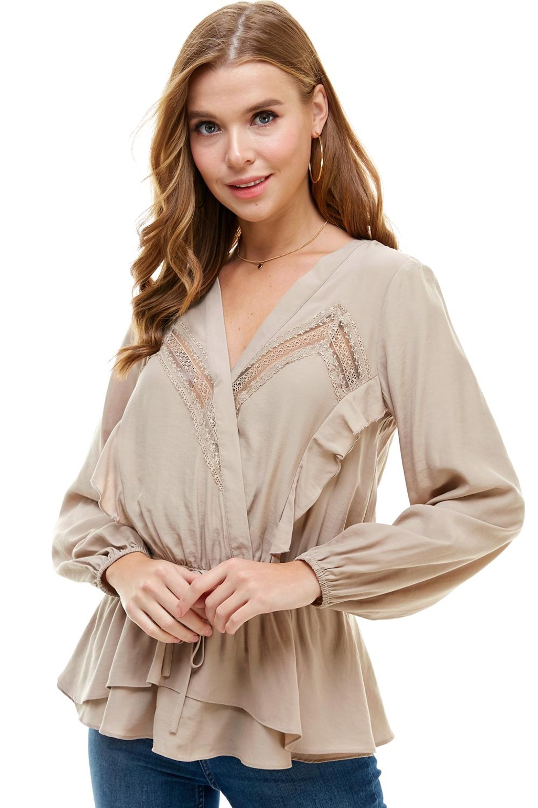 Miley and Molly Surplice Lace Trim Inset Cinched Waist Long Sleeve Blouse - Main Image