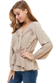 Miley and Molly Surplice Lace Trim Inset Cinched Waist Long Sleeve Blouse - Back cropped