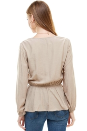 Miley and Molly Surplice Lace Trim Inset Cinched Waist Long Sleeve Blouse - Other