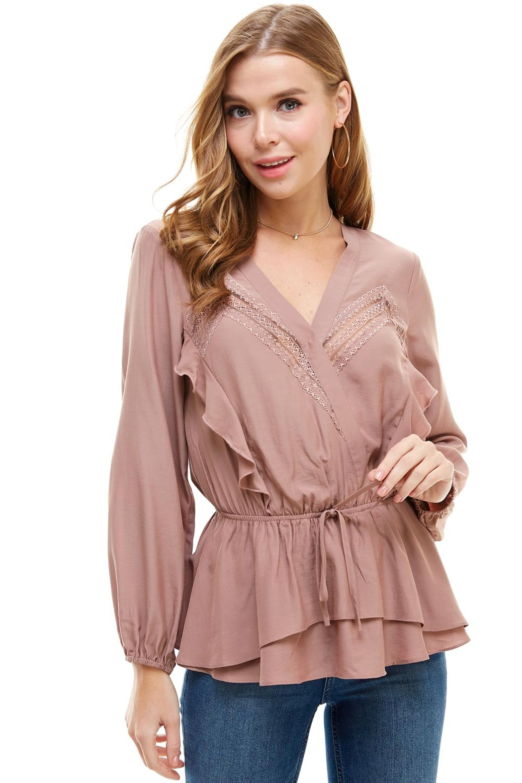 Miley and Molly Surplice Lace Trim Inset Cinched Waist Long Sleeve Blouse - Front Cropped Image