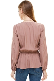Miley and Molly Surplice Lace Trim Inset Cinched Waist Long Sleeve Blouse - Side cropped