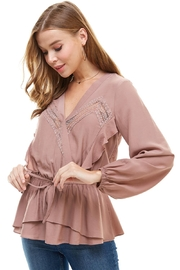 Miley and Molly Surplice Lace Trim Inset Cinched Waist Long Sleeve Blouse - Front full body