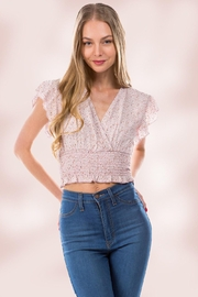 Miley and Molly Surplice Neck Kline Flutter Sleeves Smock Hem Top - Product Mini Image