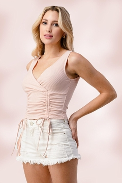 Miley and Molly Surplice Sleeveless Front Ruched Top In Rib Jersey - Product List Image