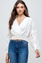 Miley and Molly Surplice Smock Ruffle Long Sleeves Blouse Top - Product Mini Image